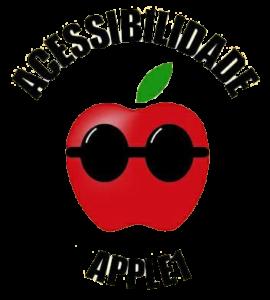 Logo do Portal acessibilidade Apple 1, formada por uma maça vermelha com óculos de sol e uma folhinha verde logo acima e, acima esta escrito acessibilidade no formato arredondado e abaixo da maça no mesmo formato está escrito apple 1